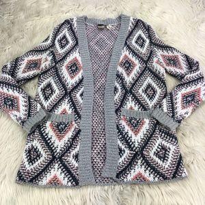 Roxy Geometric Woven Open Front Cardigan